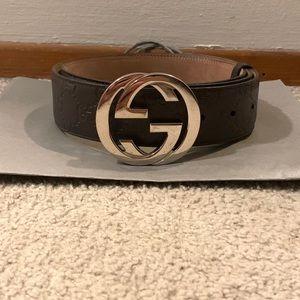 Men's Brown Gucci Logo Belt